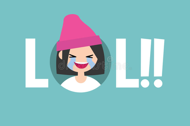 LOL conceptual illustrated sign. laughing out loud teenage girl. / flat illustration vector illustration