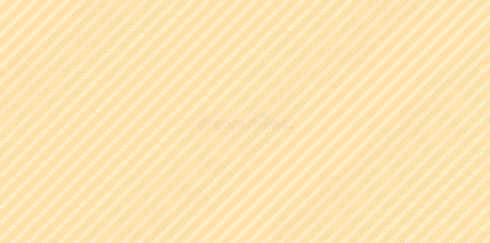 Lol doll vector background with stripes and polka dots. Cute light yellow backdrop for decoration girly party. Paper printable design. Beidge abstract pattern royalty free illustration