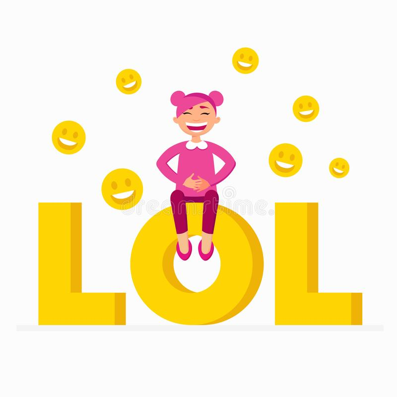 Free LOL Icon As A Laugh Out Loud Sign Yellow Symbol With A Funny Smiling Girl With Pink Hair Sitting On LOL Text. Cheerful Royalty Free Stock Photos - 112073438