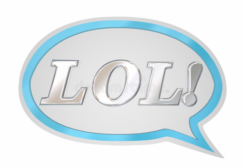 LOL Laughing Out Loud Speech Bubble Cloud. 3d Illustration royalty free illustration