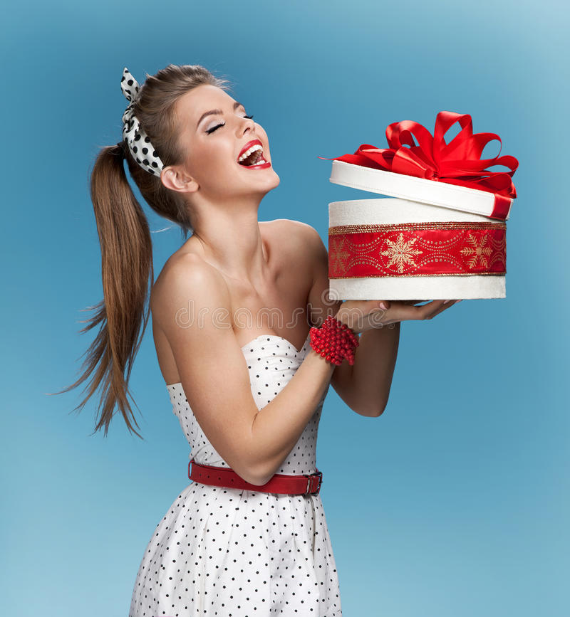 LOL woman with round gift box stock images