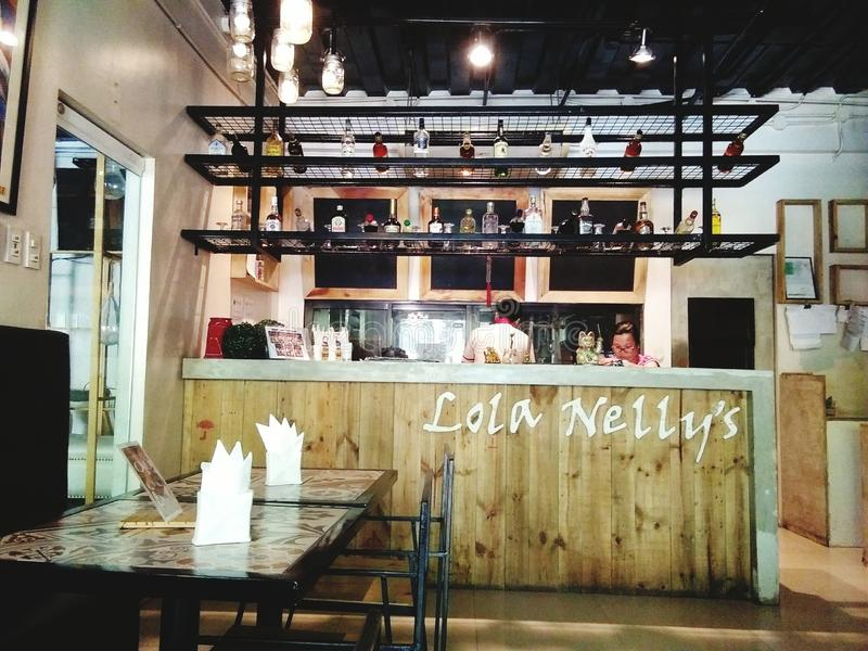 Lola Nelly's. Here is a picture of a cafe in Lapu-Lapu City, Cebu Philippines which caters great food royalty free stock photo