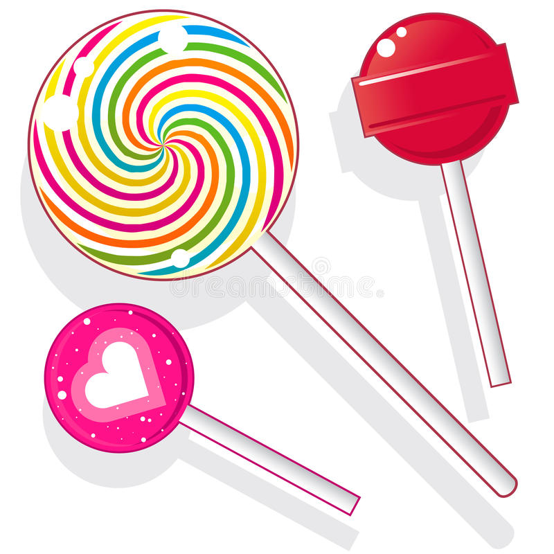 Lollipop candy. Lollipops and suckers. Vector candy set includes spherical lolly pops as well as round swirl pop