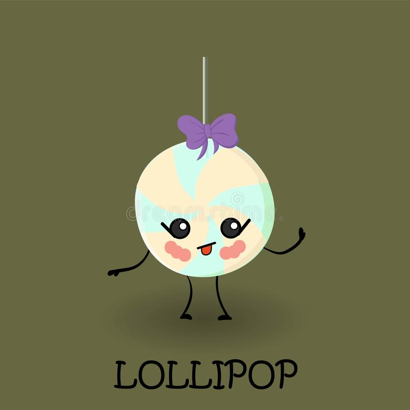 Lollipop candy character with face and smile. Kawaii sweets and desserts. Delicious sweets and sweets stock illustration