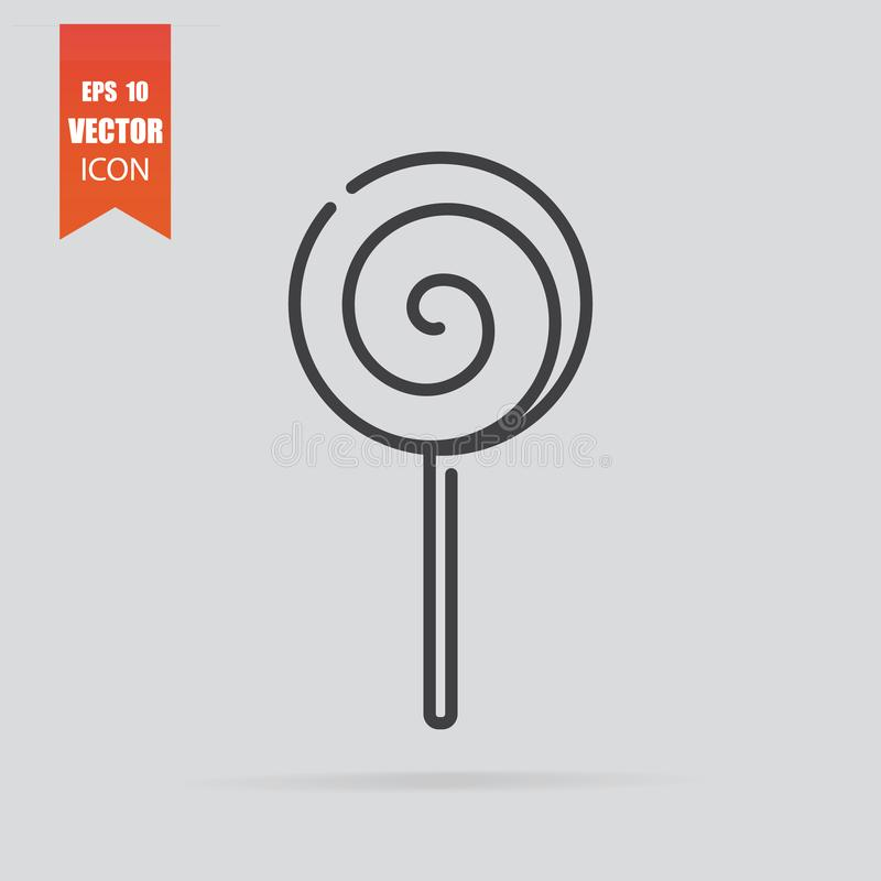 Lollipop icon in flat style isolated on grey background stock illustration