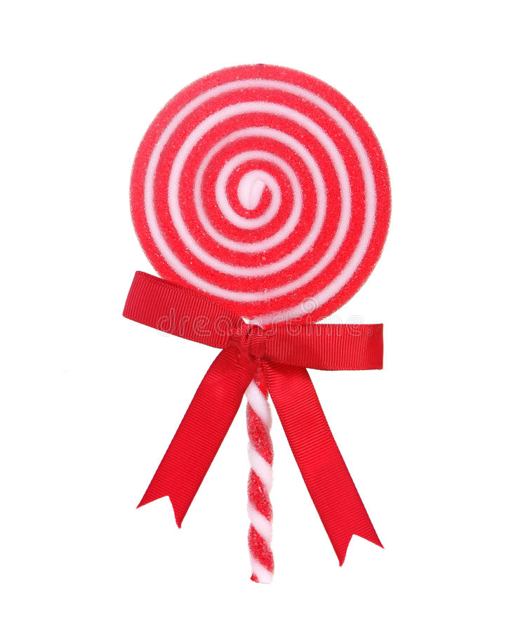 Lollipop rojo y blanco del día de fiesta imagenes de archivo