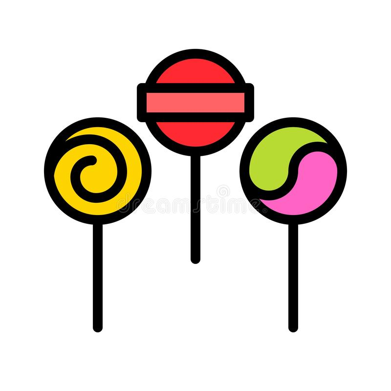 Lollipop vector illustration, filled style icon editable outline. Lollipop vector illustration, filled style icons editable outline vector illustration