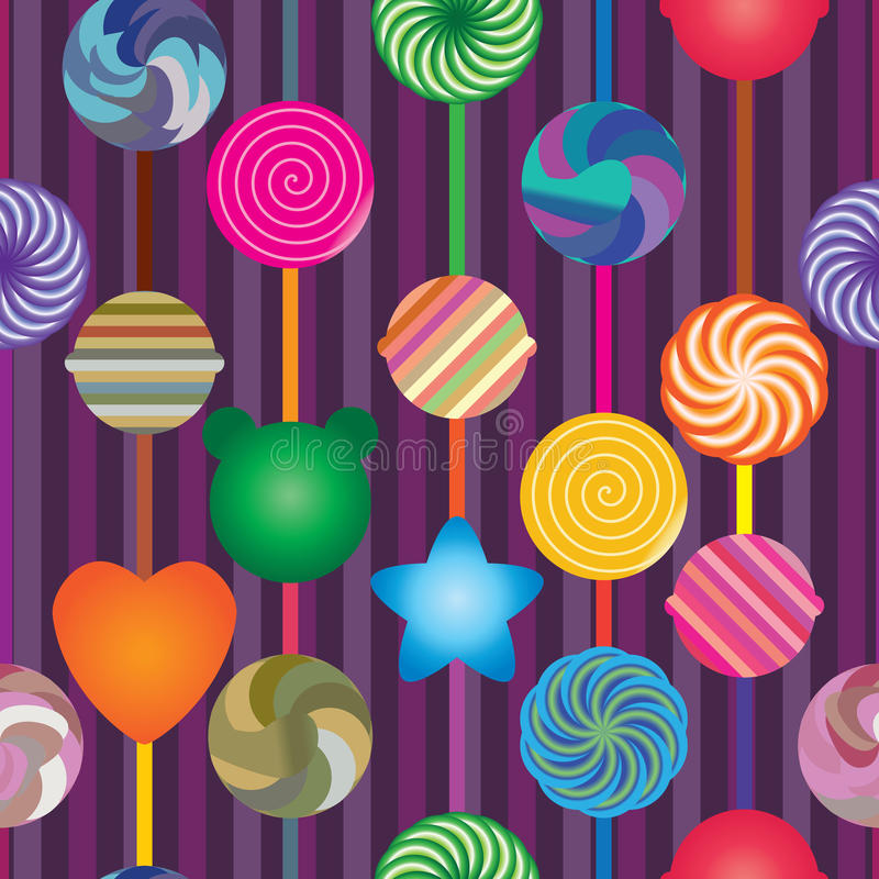 Lollipop vertical seamless pattern. This illustration is drawing lollipop vertical and stripe background in seamless pattern stock illustration