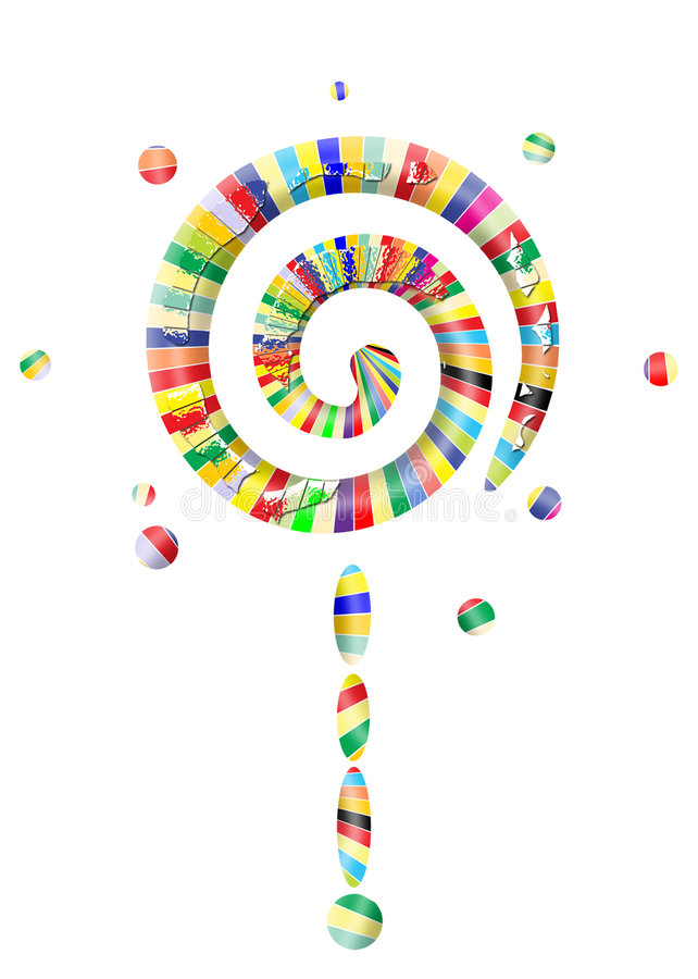 Lollipop world. Isolated sweet lollipop with pieces on it and colored candy vector illustration