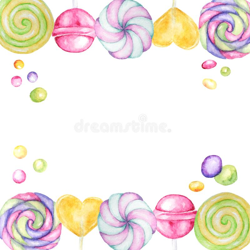 Bright colors candy set. Lollipops bright colors on white background. Watercolor hand drawn candies illustration for. Lollipops bright colors on white background royalty free illustration