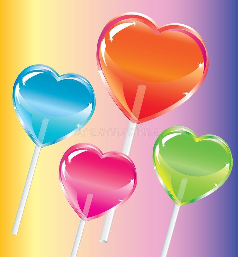 Lollipops brilhantes com uma forma do coração ilustração stock