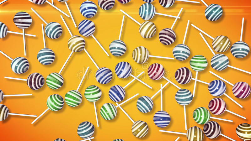 Lollipops. Candy on stick. With twisted design. 3d rendering stock illustration