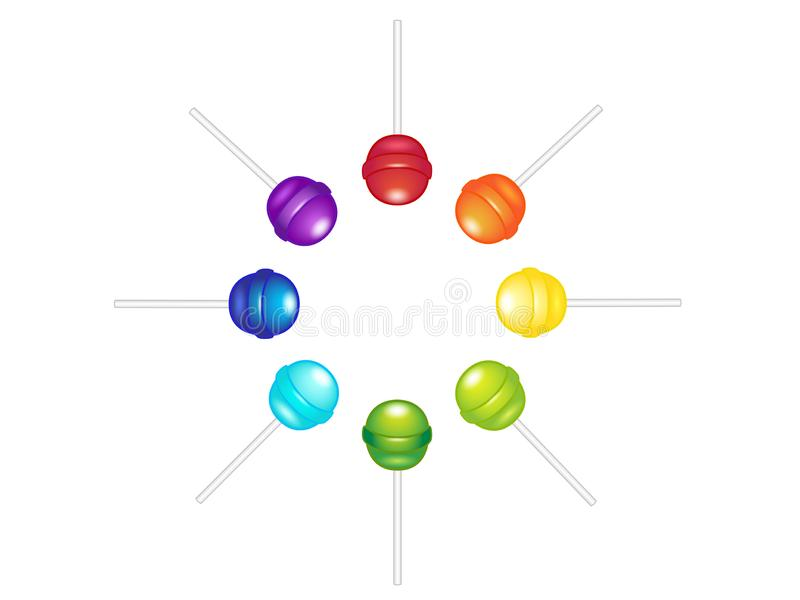 Lollipops, caramel on a stick arranged in a circle. A set of bright shiny candies in all colors of the rainbow: red, orange, yello stock illustration