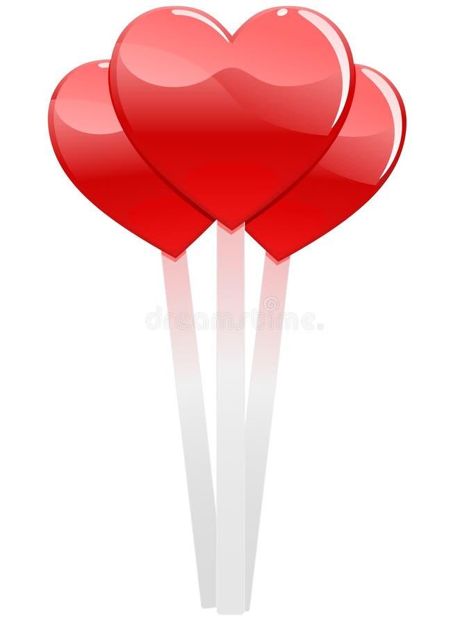 Lollipops dados forma coração ilustração do vetor