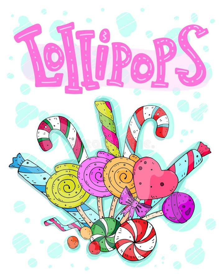 lollipops Ejemplo dulce lindo del vector de la historieta con los caramelos del color, los elementos decorativos y las letras ilustración del vector