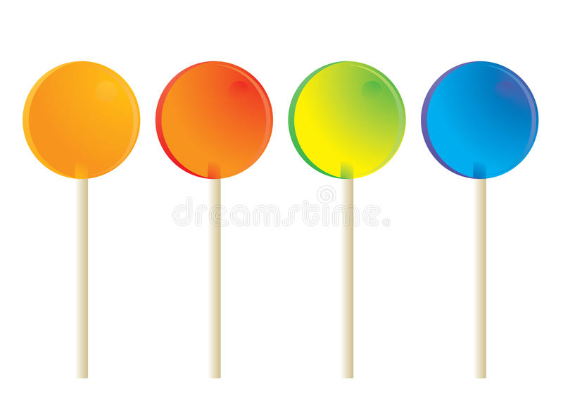 Lollipops isolated. Circular lollipops with white sticks isolated on a white background vector illustration