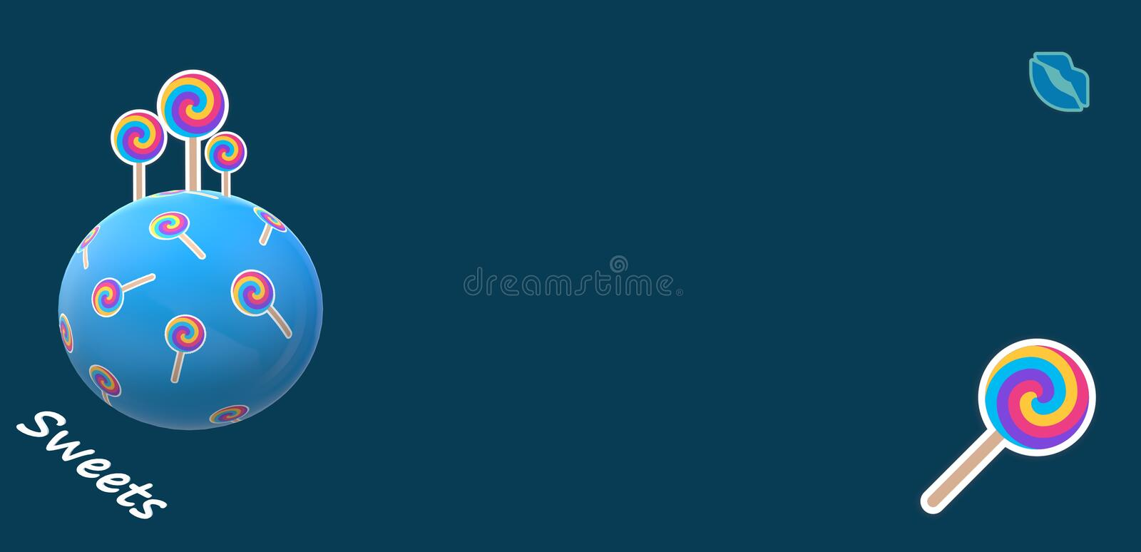 Lollipops planet with dark blue background stock images