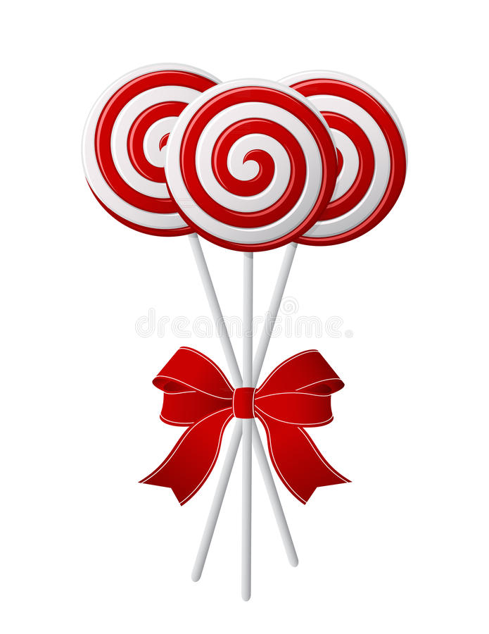 Lollipops with red ribbon. Bunch of Red and White candies with red ribbon vector illustration