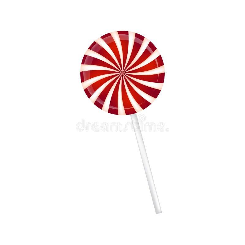 Lolly gestreept in Kerstmiskleuren Spiraalvormig zoet suikergoed met rode en witte strepen Vectorillustratie op een witte rug royalty-vrije illustratie