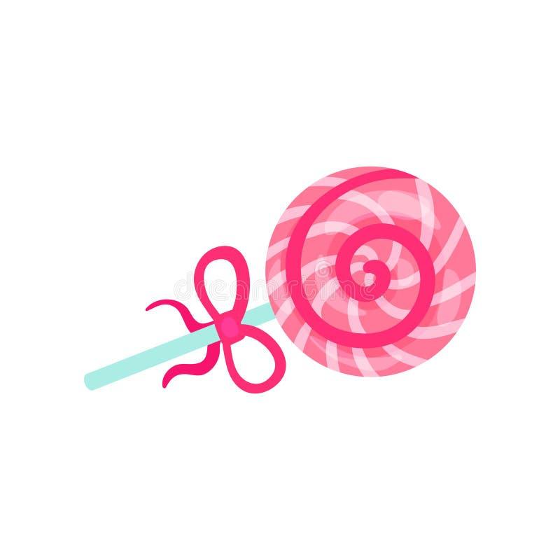 Lolly met de roze en witte van het de tijdbeeldverhaal van de strepenzomer vectorillustratie vector illustratie