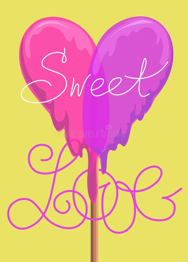 Lollypop greeting card. sweet love valentine card. raster version. Lollypop greeting card. valentine card. raster version stock illustration