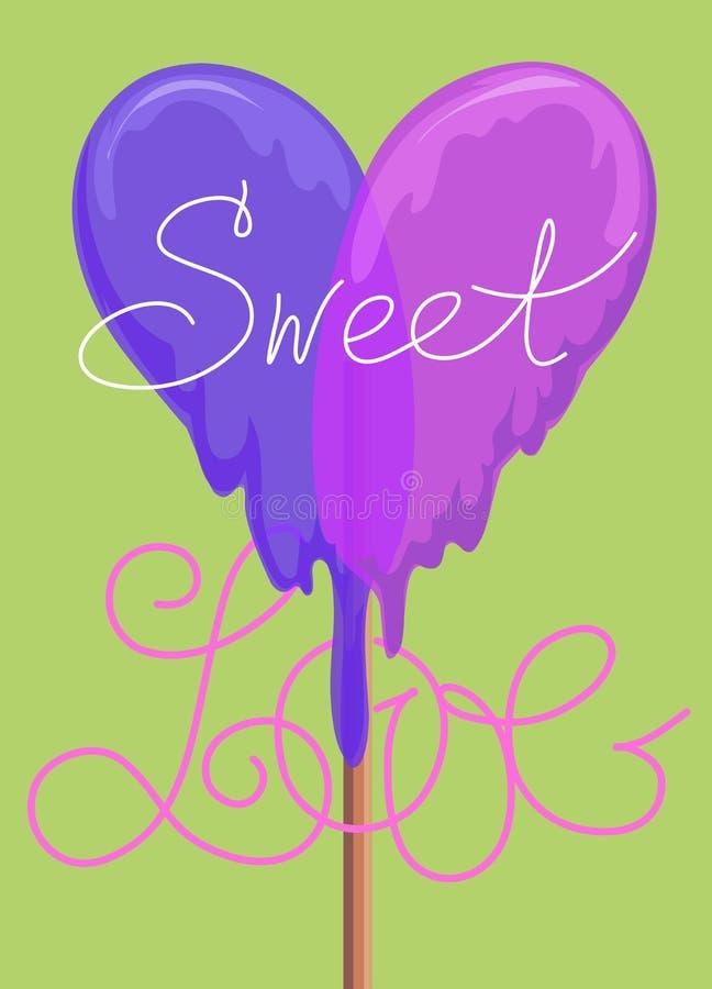 Lollypop greeting card. sweet love valentine card. raster version. Lollypop greeting card. valentine card. raster version vector illustration