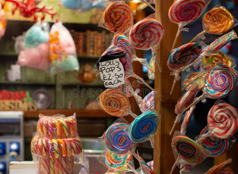 Lollypops at Christmas market stall. In Southampton, United Kingdom royalty free stock photos