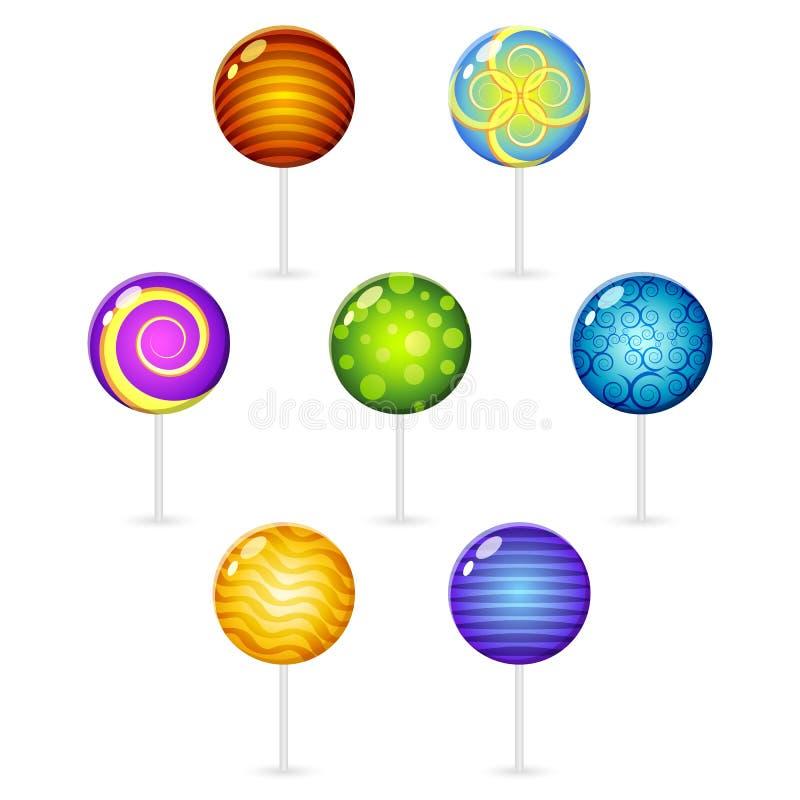 Lollypops decorati differenti illustrazione vettoriale