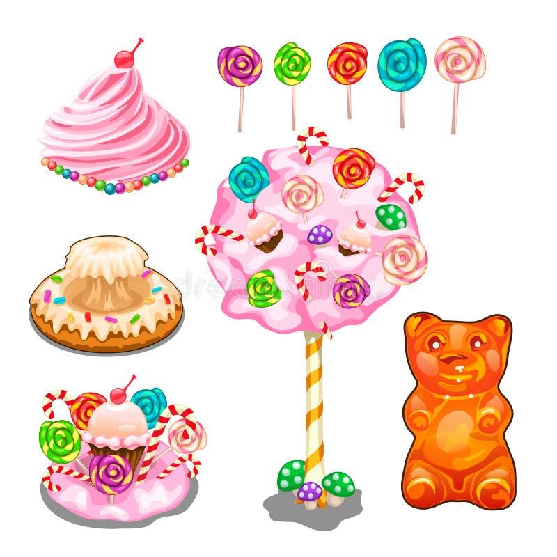 Lollys, cakes, cake, suikergoed en andere snoepjes royalty-vrije illustratie