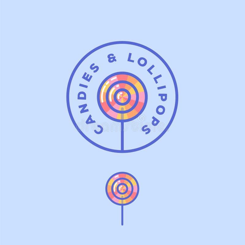 Lollysembleem Het embleem van de snoepjesopslag Suikergoed op een stok in een cirkel met brieven stock illustratie