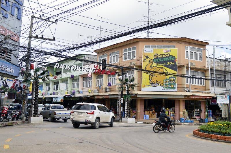 Lom Sak Municipality Street sikt i Thailand arkivfoton