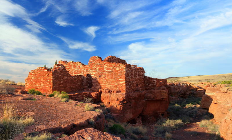 Warm Evening Light on Lomaki Ruin, Wupatki National Monument, Arizona, United States. Lomaki Pueblo located on the edge of Box Canyon is one of the smaller royalty free stock image
