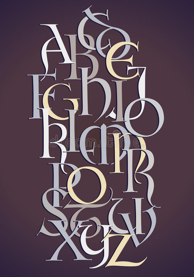 Lombard alphabet composition royalty free illustration
