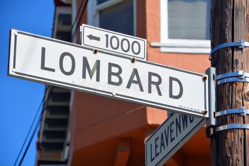 Lombard-Straßenschild lizenzfreie stockbilder