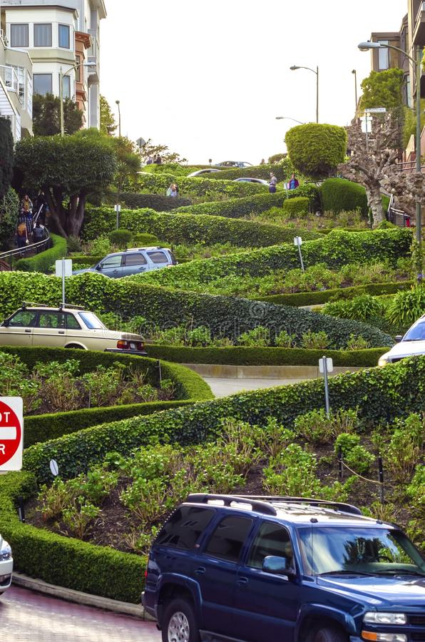 Lombard Street, San Francisco, California. The famous Lombard street on Russian Hill in San Francisco, California, United States of America. A view of the royalty free stock photography