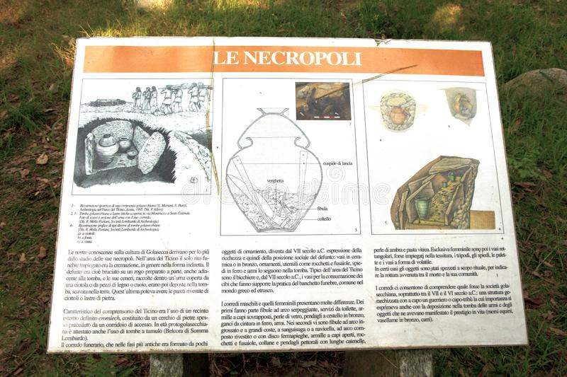 Lombardia. Golasecca (VA), Italy - September 15, 2016: The Monsorino archaeological site sign, Golasecca, Varese, Lombardy, Italy royalty free stock images