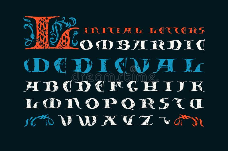 Lombardic medieval capital font. Initial letters with rough texture for logo and monogram design. Print on black background vector illustration