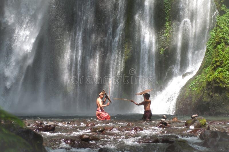 Lombok traditionell lek arkivbild