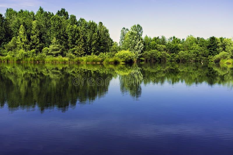 Lomellina, Pavia, Północny Włochy: mały sztuczny jezioro koloru córek wizerunku matka dwa obrazy stock