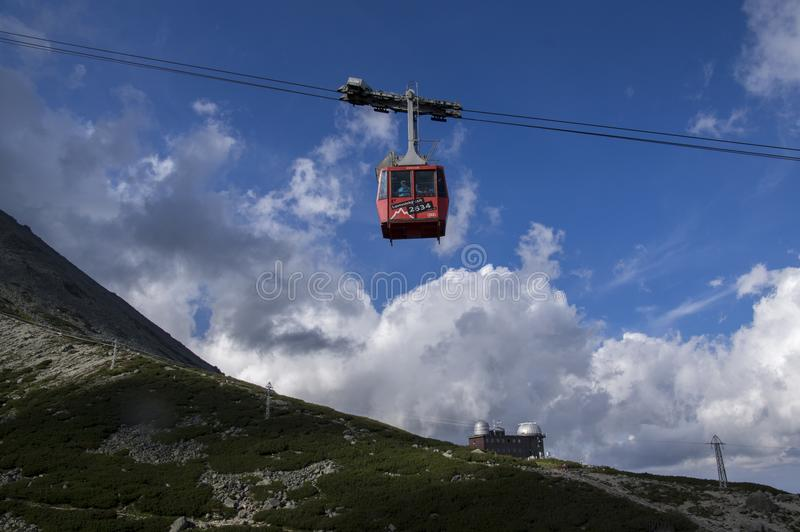 Lomnicky stit, Hoge Tatra-bergen/SLOWAKIJE - 6 Juli, 2017: Verbazend luchtlifthoogtepunt van toeristen van pleso van postskalnate royalty-vrije stock afbeelding