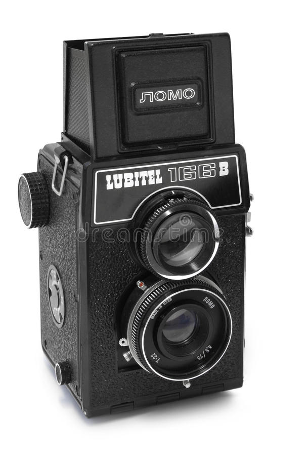 Lomo Lubitel camera. Soviet made Lomo Lubitel medium format twin lens reflex camera body royalty free stock image