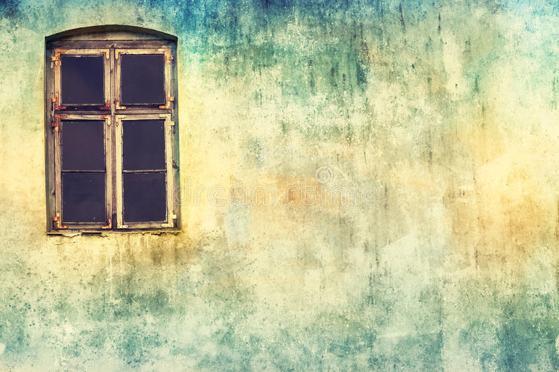 Lomo window. Painted wall with window. Lomo composition royalty free stock image