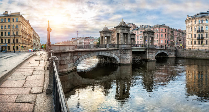 Lomonosov Bridge over the Fontanka River. In St. Petersburg on a summer sunny morning stock images