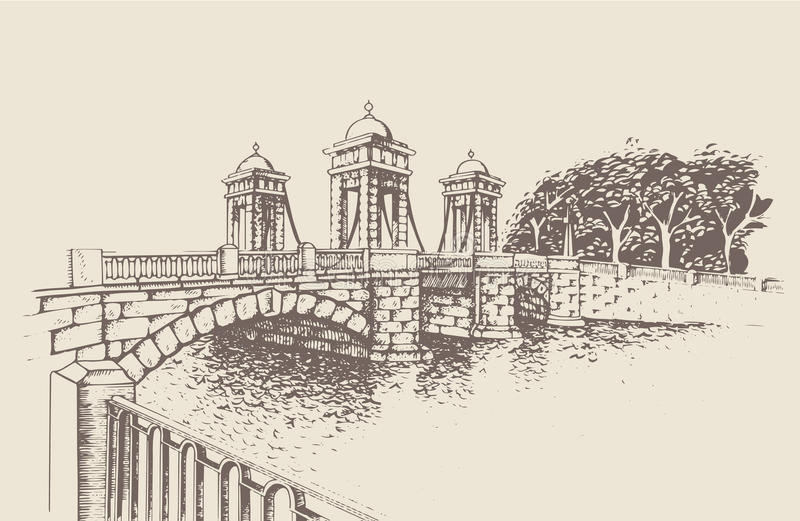 Lomonosov Bridge, St. Petersburg, Russia. Historic bridge on Fontanka embankment, St. Petersburg. Monument of culture of the city bridge construction. Traced royalty free illustration