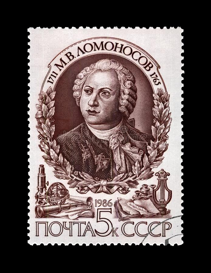 Lomonosov Mikhail, famous russian scientist, explorer, astronomer, writer, USSR, circa 1986,. USSR - CIRCA 1986: canceled stamp printed in the USSR shows famous royalty free stock photo