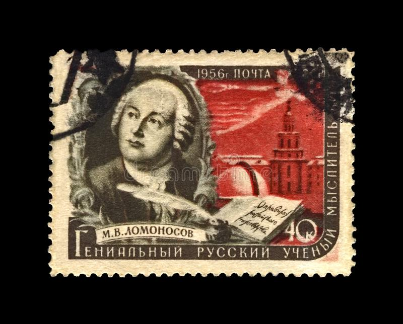 Lomonosov Mikhail, famous russian scientist, explorer, writer, USSR, circa 1956,. USSR - CIRCA 1956: canceled stamp printed in the USSR shows famous russian stock image