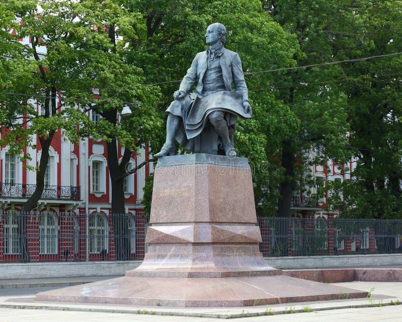 The Lomonosov monument. Lomonosov monument, Universitetskaya embankment Saint Petersburg Russia royalty free stock photography