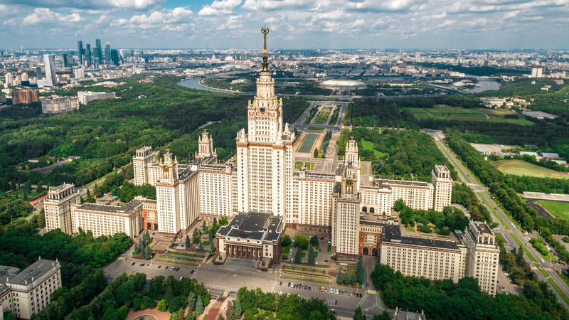 Lomonosov Moscow State University aerial view. From drone royalty free stock photo