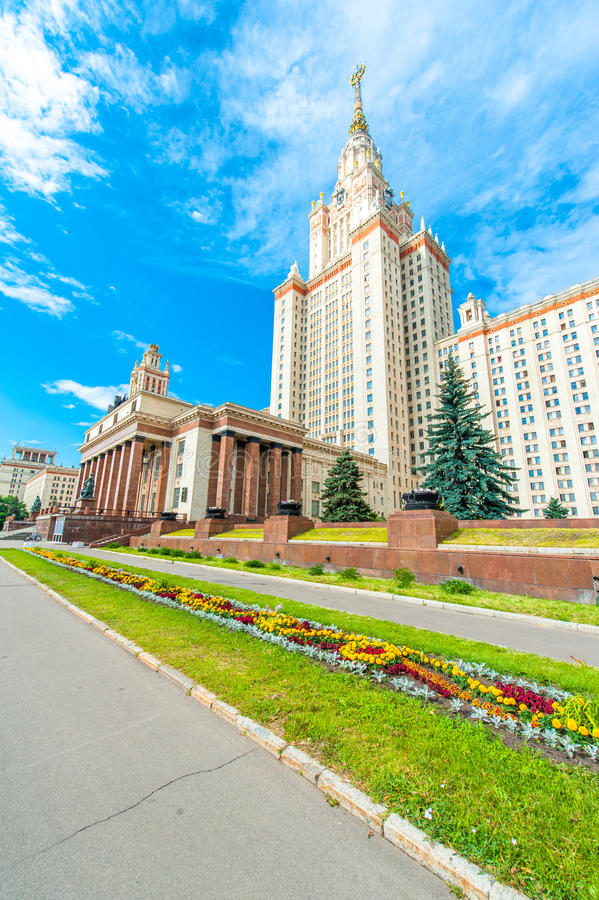 Lomonosov Moscow State University. Impressive main building of the Lomonosov Moscow State University on the Sparrow Hills in downtown Moscow, Russia. The royalty free stock image