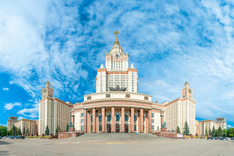 Lomonosov Moscow State University. Impressive main building of the Lomonosov Moscow State University on the Sparrow Hills in downtown Moscow, Russia. The royalty free stock photography